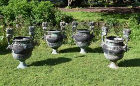 A SET OF FOUR BRONZE 'VERSAILLES' VASES, AFTER THE DESIGN BY CLAUDE BALLIN, 20TH CENTURY