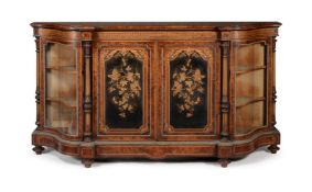 Y A VICTORIAN SPECIMEN TIMBER MARQUETRY, PARQUETRY AND GILT METAL MOUNTED SIDE CABINET, BY GILLOW &