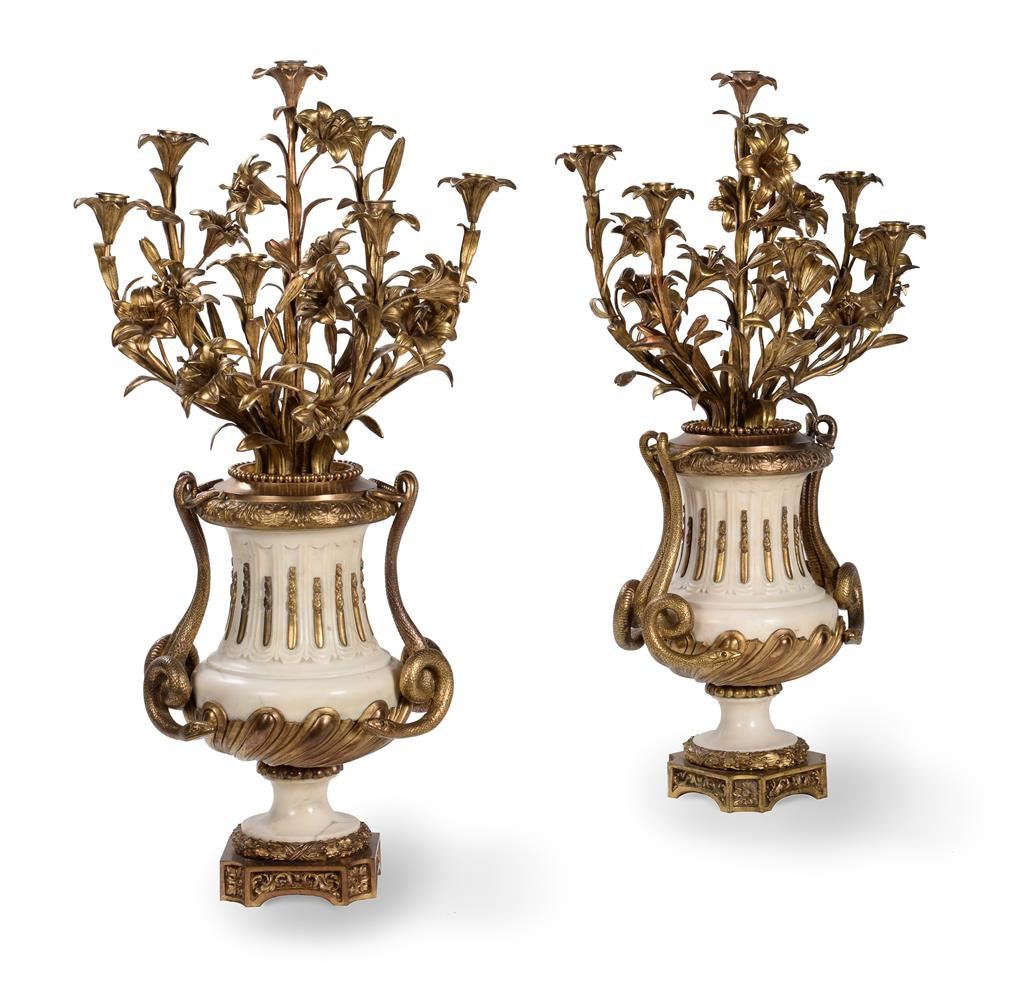 A PAIR OF FRENCH MARBLE AND ORMOLU SEVEN LIGHT CANDELABRA, CIRCA 1860