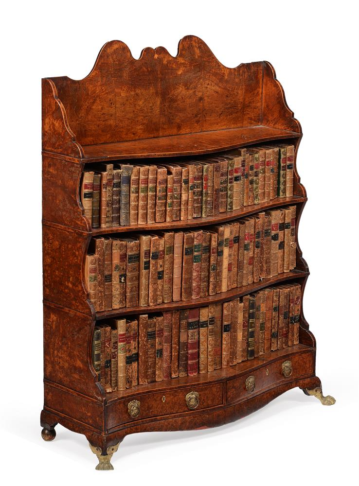 A REGENCY POLLARD OAK AND LINE INLAID 'WATERFALL' OPEN BOOKCASE, CIRCA 1820 - Image 2 of 3