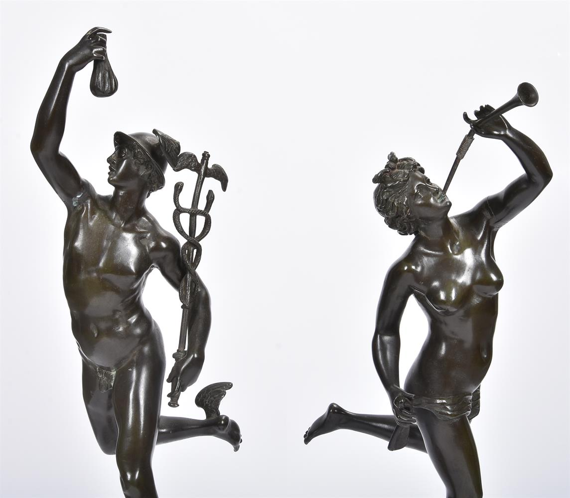AFTER GIAMBOLOGNA, A PAIR OF BRONZE FIGURES OF MERCURY AND FORTUNA, SECOND HALF 19TH CENTURY - Image 2 of 7