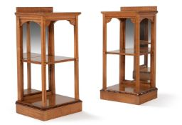 A PAIR OF AESTHETIC MOVEMENT SYCAMORE BEDSIDE ETAGERES, LATE 19TH CENTURY