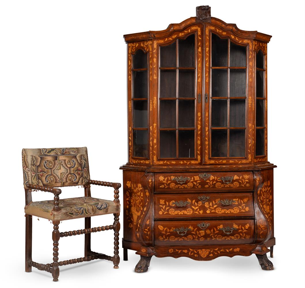 A DUTCH WALNUT AND MARQUETRY INLAID CABINET ON CHEST, LATE 18TH CENTURY - Image 4 of 4