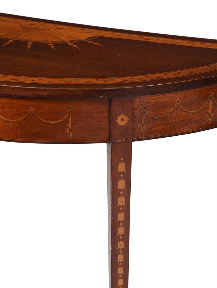 A PAIR OF GEORGE III MAHOGANY, SATINWOOD AND MARQUETRY DEMI-LUNE SIDE TABLES, CIRCA 1790 - Image 2 of 6