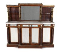 Y A GEORGE IV ROSEWOOD, SIMULATED ROSEWOOD AND GILT METAL MOUNTED SIDE CABINET, CIRCA 1825