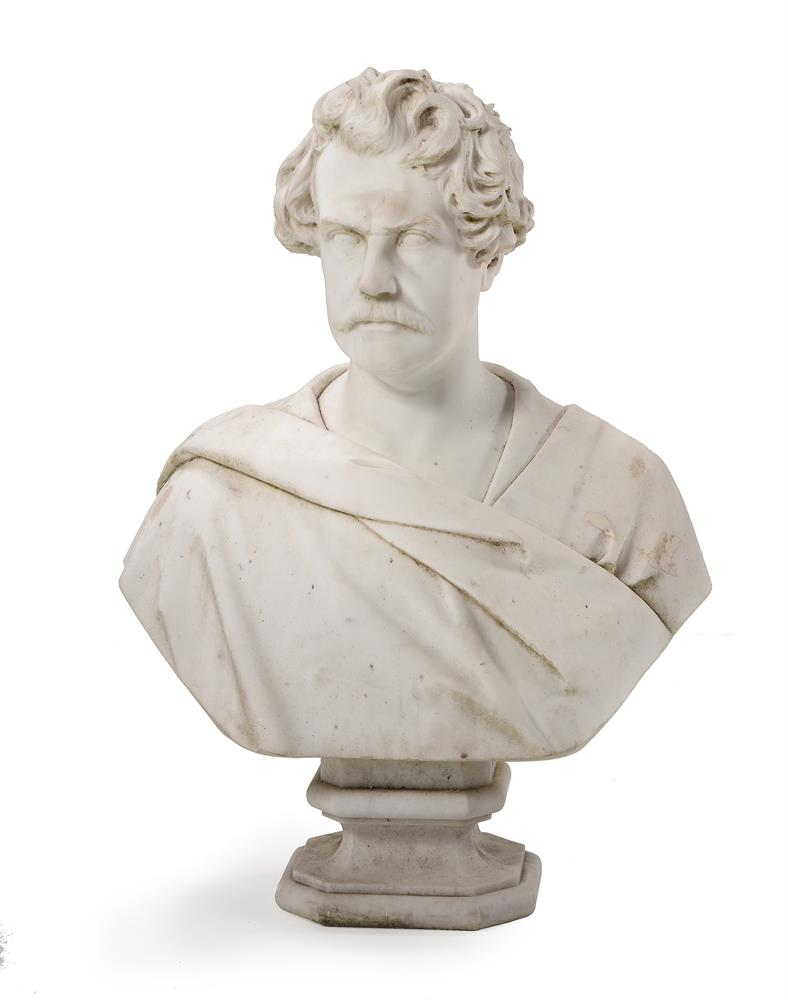 A CARVED MARBLE PORTRAIT BUST OF A GENTLEMAN, CIRCA 1840