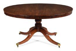 AN IRISH GEORGE III MAHOGANY CIRCULAR CONCENTRIC EXTENDING DINING TABLE, CIRCA 1800