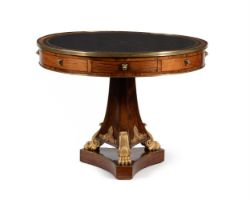 A REGENCY ROSEWOOD AND GILT BRASS MOUNTED DRUM LIBRARY TABLE, CIRCA 1820