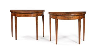 A PAIR OF GEORGE III DECORATED SATINWOOD CARD TABLES, CIRCA 1810