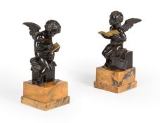 A PAIR OF FRENCH BRONZE AND GILT METAL WINGED CHERUBS, 19TH CENTURY