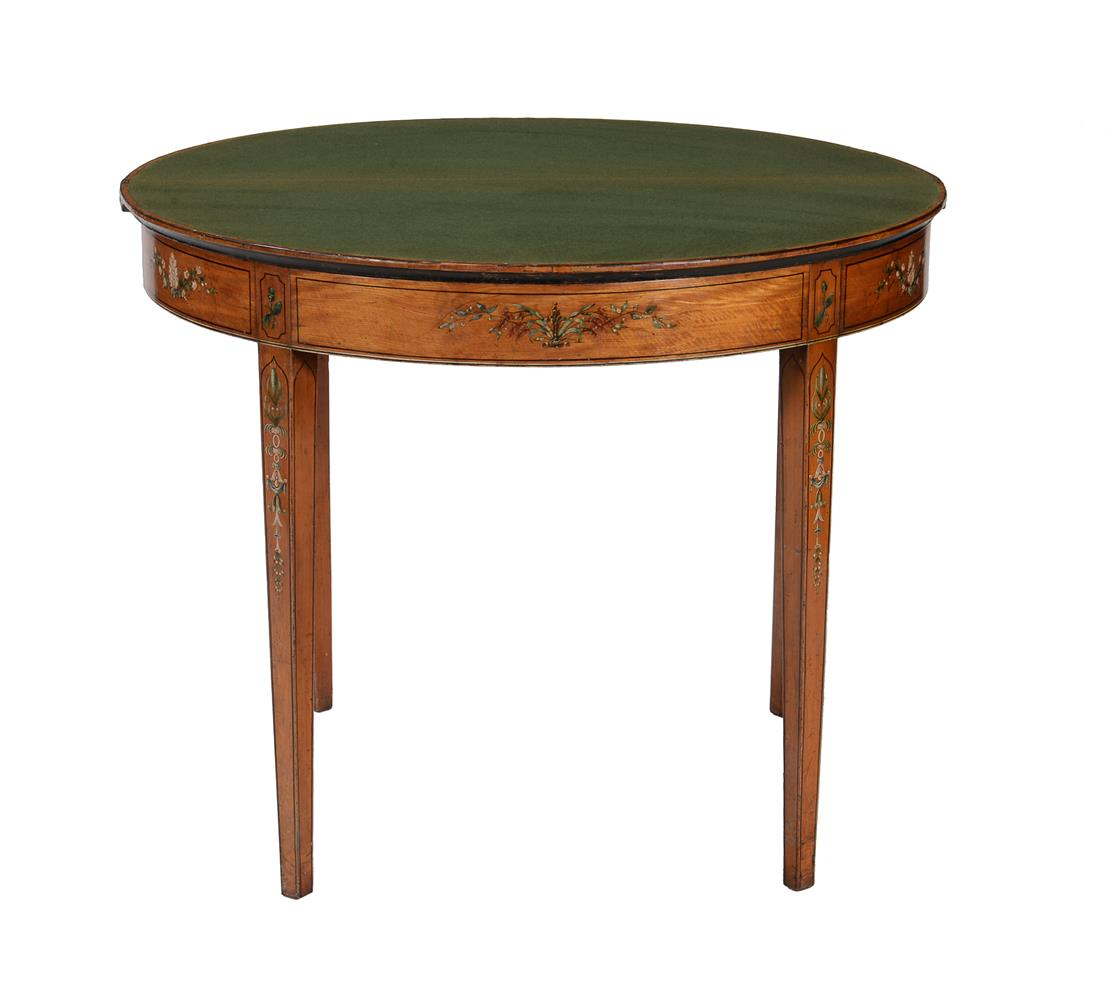 A PAIR OF GEORGE III DECORATED SATINWOOD CARD TABLES, CIRCA 1810 - Image 6 of 8