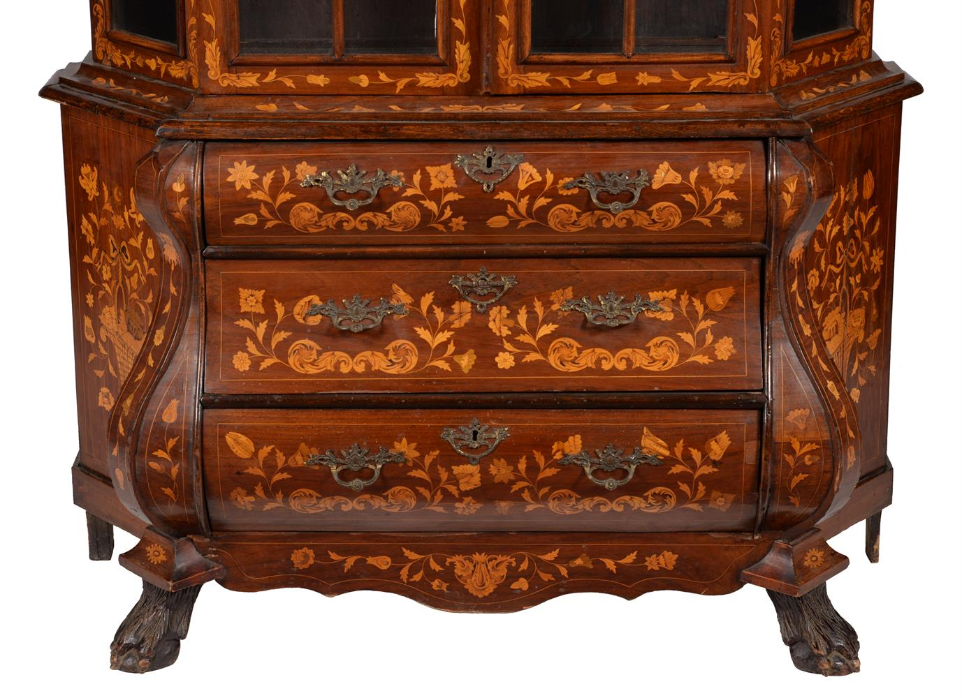 A DUTCH WALNUT AND MARQUETRY INLAID CABINET ON CHEST, LATE 18TH CENTURY - Image 3 of 4