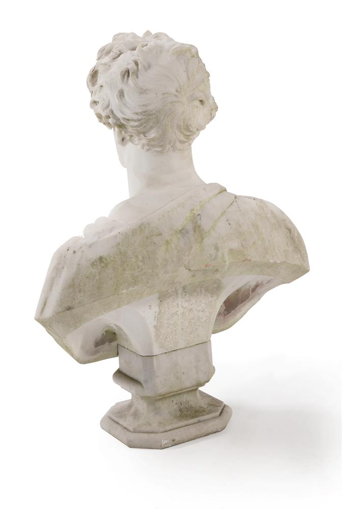 A CARVED MARBLE PORTRAIT BUST OF A GENTLEMAN, CIRCA 1840 - Image 2 of 2