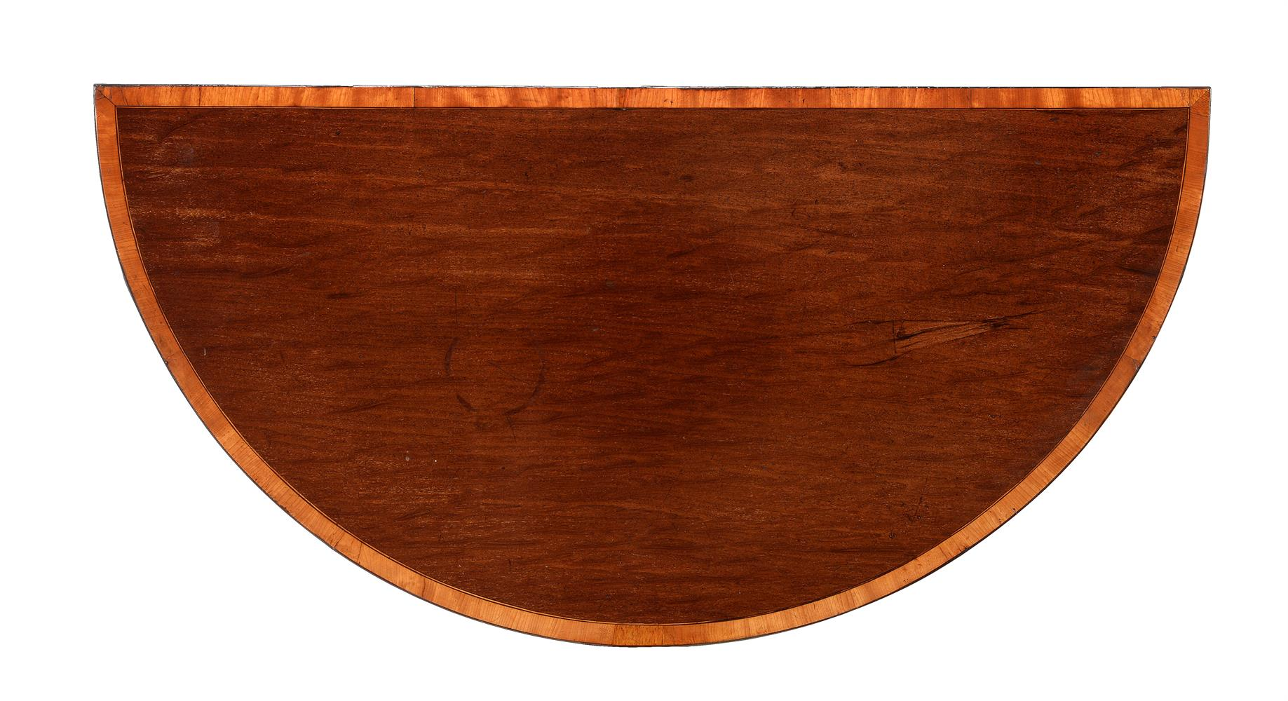 A GEORGE III 'FUSTIC' MAHOGANY AND CROSSBANDED DEMI-LUNE CARD TABLE, CIRCA 1790 - Image 2 of 3