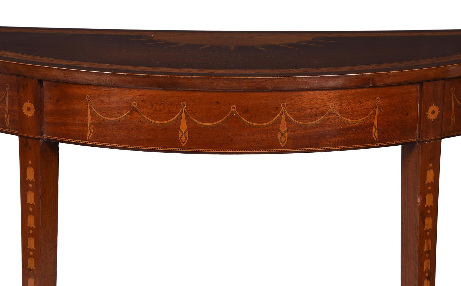 A PAIR OF GEORGE III MAHOGANY, SATINWOOD AND MARQUETRY DEMI-LUNE SIDE TABLES, CIRCA 1790 - Image 4 of 6