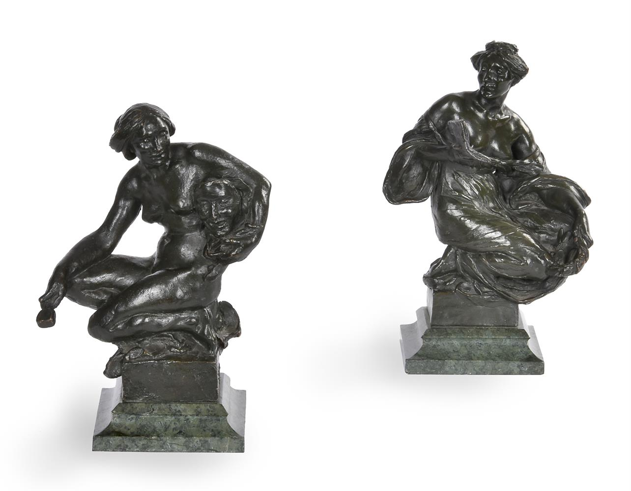 ALFRED DRURY (1856-1944), A PAIR OF BRONZE FEMALE FIGURES OF DRAMA AND LITERATURE
