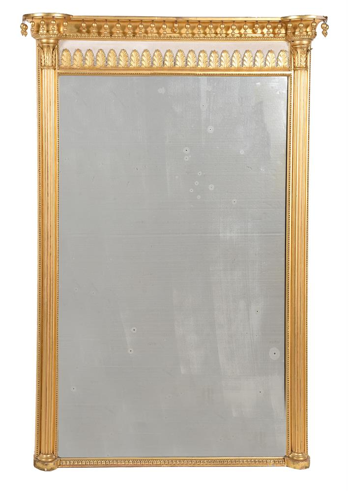 A PAIR OF GEORGE III GILTWOOD AND CREAM PAINTED WALL MIRRORS, CIRCA 1800