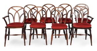 A MATCHED SET OF EIGHT ELM, ASH AND BEECH DINING CHAIRS, FIRST HALF 19TH CENTURY
