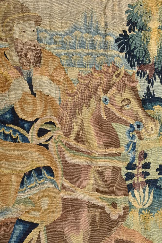 A FLEMISH TAPESTRY FRAGMENT DEPICTING MUSICIANS, LATE 17TH CENTURY - Image 3 of 4
