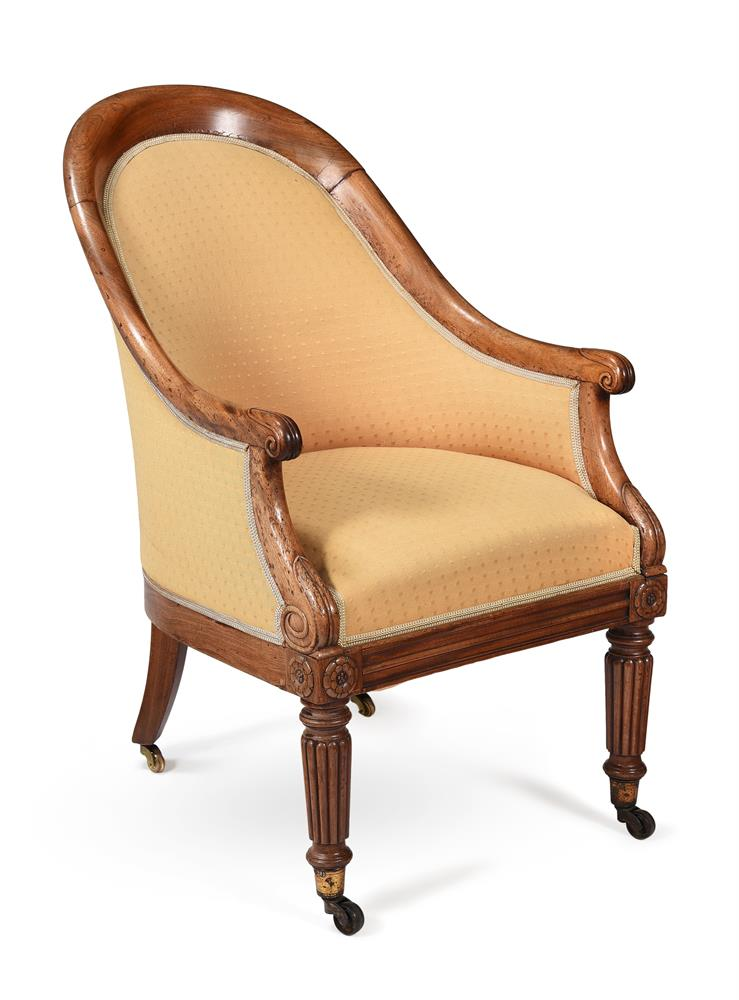 A REGENCY MAHOGANY AND UPHOLSTERED BERGERE ARMCHAIR, CIRCA 1820