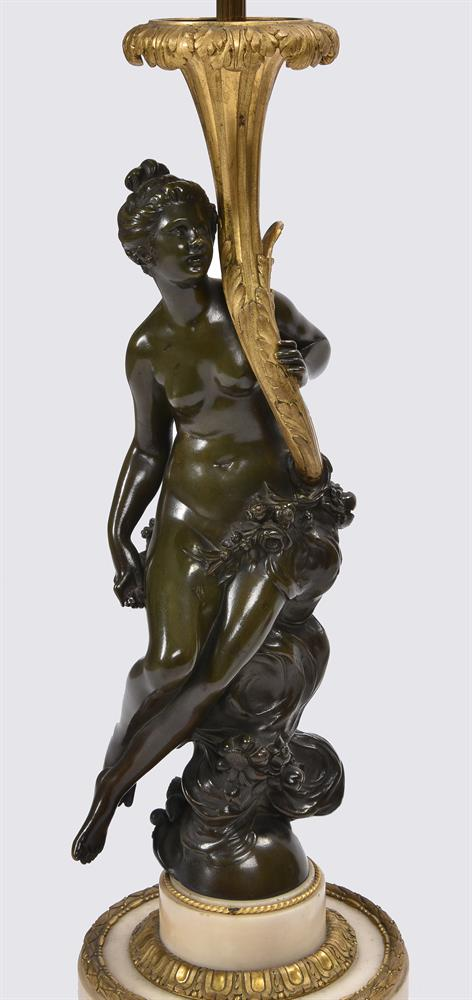 AFTER CORNELIUS VON CLEVE, A BRONZE AND ORMOLU FIGURAL TABLE LAMP, SECOND HALF 19TH CENTURY - Image 4 of 8