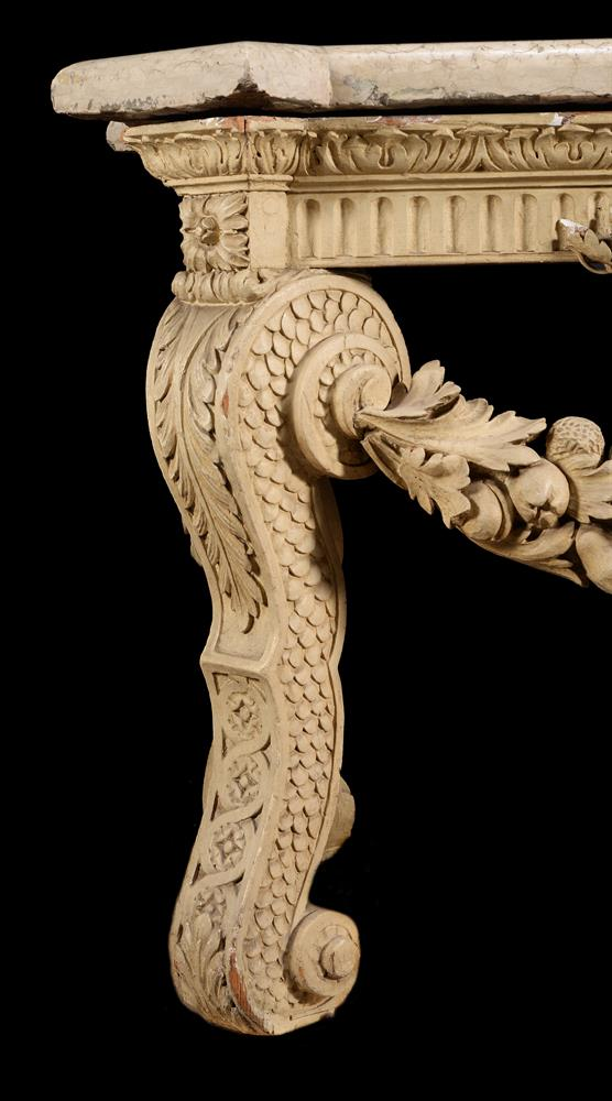 A CREAM PAINTED CARVED WOOD CONSOLE TABLE, IN THE MANNER OF WILLIAM KENT - Image 5 of 9