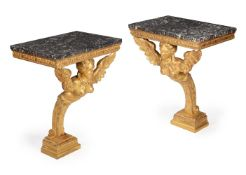 A PAIR OF GILTWOOD CONSOLE TABLES, SECOND QUARTER 18TH CENTURY AND LATER