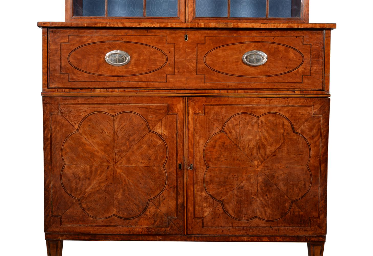 A GEORGE III SATINWOOD AND LINE INLAID SECRETAIRE BOOKCASE, CIRCA 1790 - Image 3 of 6