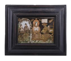 A RARE TEXTILE AND NEEDLEWORK COLLAGE PICTURE DEPICTING SAINT CECILIA, LATE 16TH/EARLY 17TH CENTURY