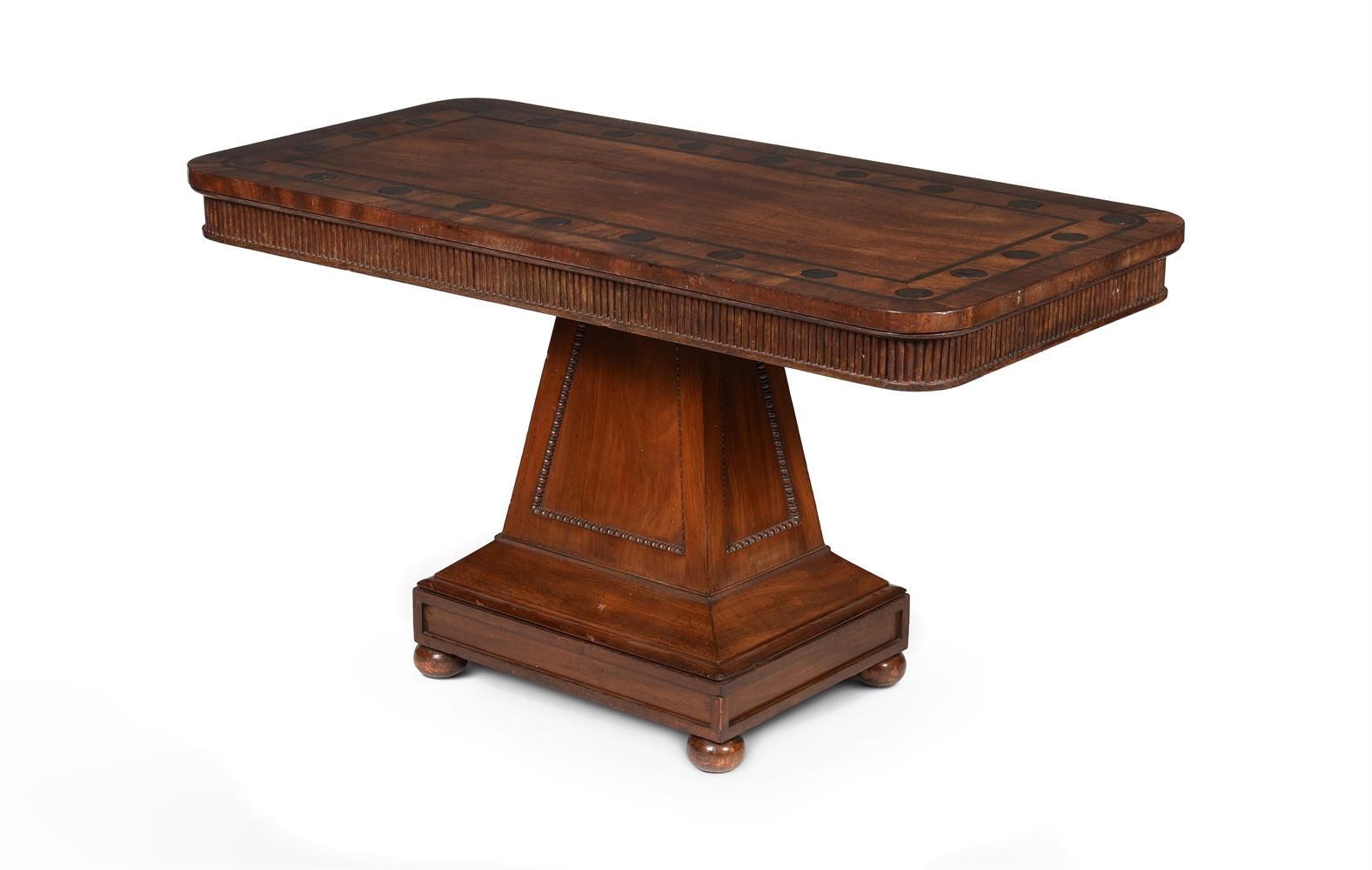 Y A PAIR OF REGENCY MAHOGANY AND MACASSAR EBONY INLAID LIBRARY OR SIDE TABLES, CIRCA 1820 - Image 3 of 5