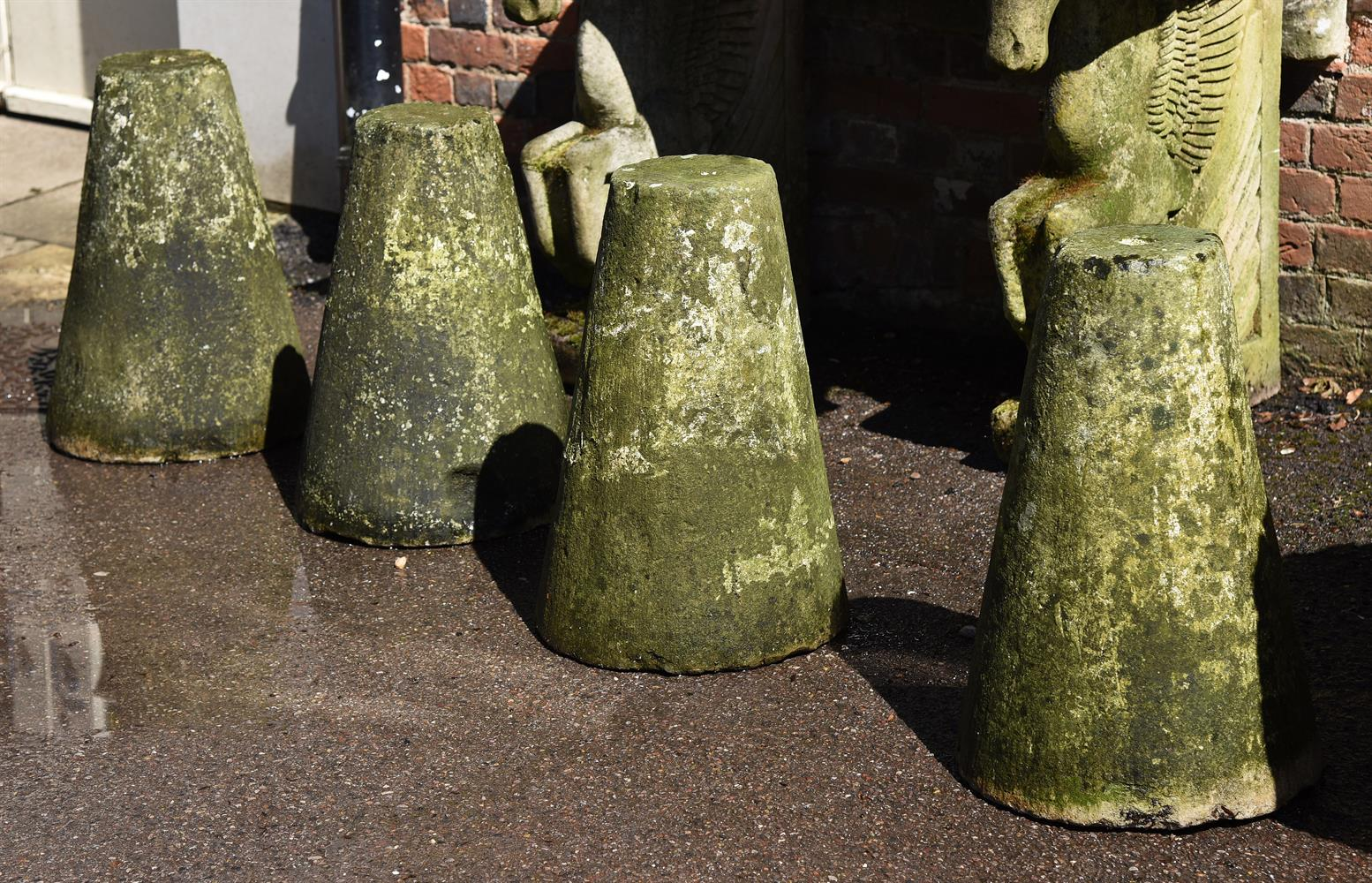 A SET OF FOUR PORTLAND STONE DRIVEWAY MARKERS, 19TH CENTURY