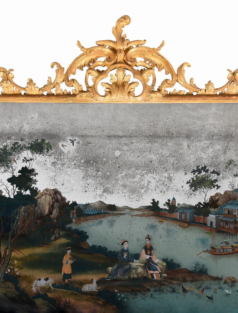 A CHINESE EXPORT REVERSE-PAINTED WALL MIRROR, THIRD QUARTER 18TH CENTURY - Image 2 of 5