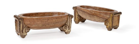 A PAIR OF GILT METAL MOUNTED MARBLE DISHES, EARLY 20TH CENTURY
