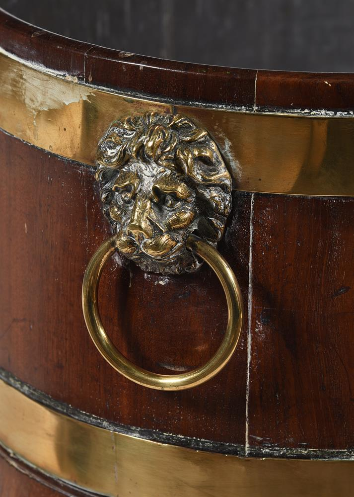 A GEORGE III MAHOGANY AND BRASS BOUND WINE COOLER, CIRCA 1800 - Image 3 of 4