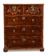 A WILLIAM & MARY OLIVEWOOD OYSTER VENEERED AND MARQUETRY INLAID CHEST OF DRAWERS, CIRCA 1690