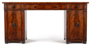 A REGENCY MAHOGANY AND EBONISED PEDESTAL SIDEBOARD, CIRCA 1815, IN THE MANNER OF MARSH & TATHAM