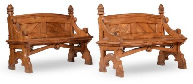 A PAIR OF VICTORIAN ELM AND BURR ELM BENCHES OR HALL SEATS, CIRCA 1880