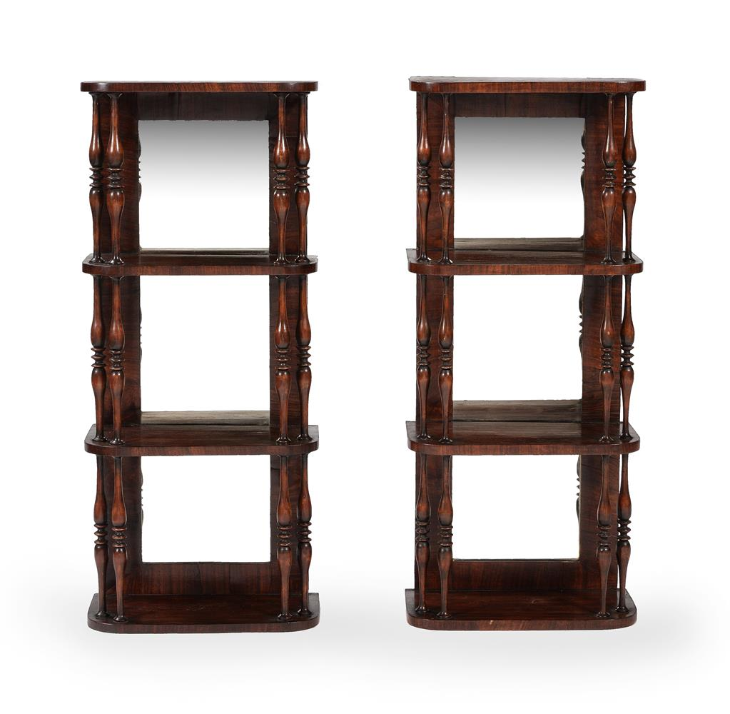 A PAIR OF GEORGE IV SIMULATED ROSEWOOD HANGING WALL SHELVES, CIRCA 1825 - Image 2 of 5