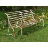 A REGENCY STRAPWORK IRON BENCH, EARLY 19TH CENTURY