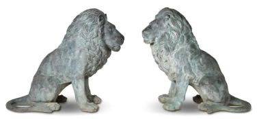 A LARGE PAIR OF BRONZE LIONS, OF RECENT MANUFACTURE