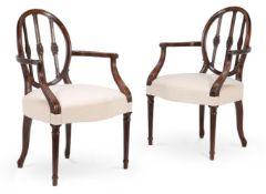 A SET OF EIGHT LATE GEORGE III MAHOGANY DINING CHAIRS, CIRCA 1810