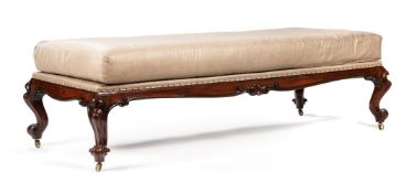 Y A VICTORIAN ROSEWOOD AND UPHOLSTERED STOOL, CIRCA 1850