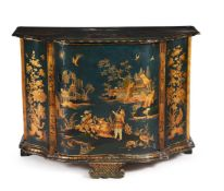 A NORTH EUROPEAN GREEN AND GILT JAPANNED SIDE CABINET, CIRCA 1770