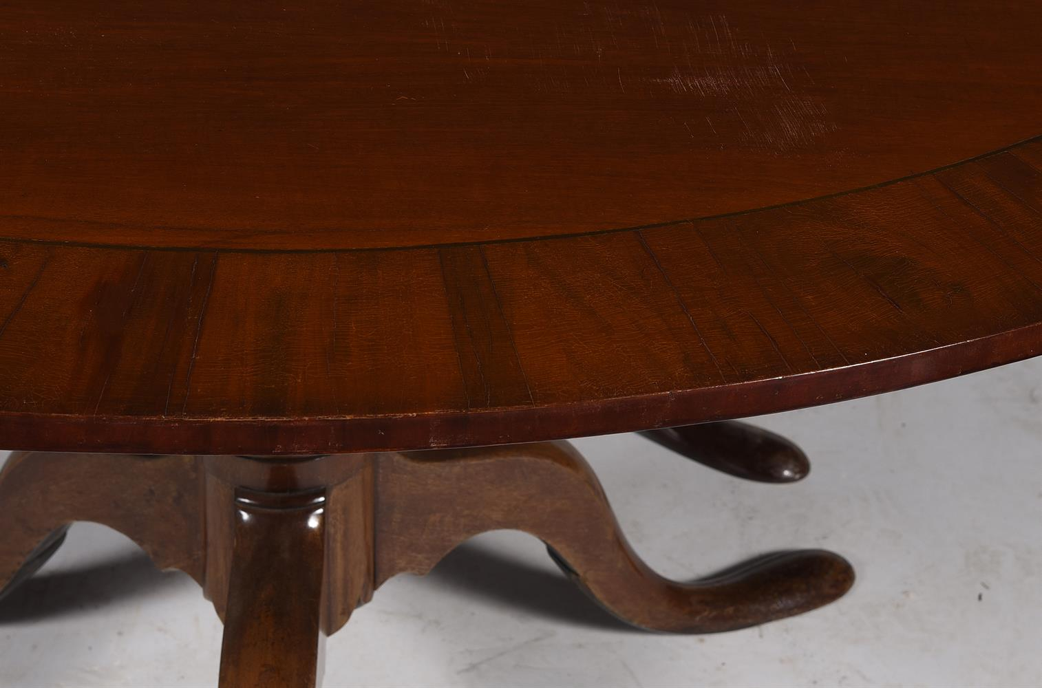 A MAHOGANY TWIN PEDESTAL DINING TABLE, CIRCA 1780 AND LATER - Image 2 of 3