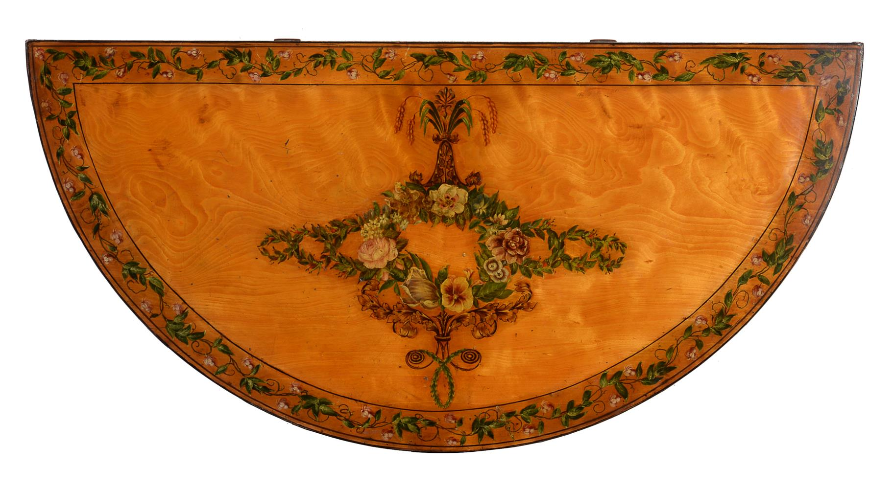 A PAIR OF GEORGE III DECORATED SATINWOOD CARD TABLES, CIRCA 1810 - Image 7 of 8