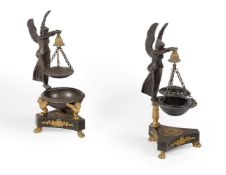 A PAIR OF FRENCH BRONZE AND ORMOLU PARFUMIERS OR 'BRUL PARFUM', IN RESTAURATION STYLE, 19TH CENTURY