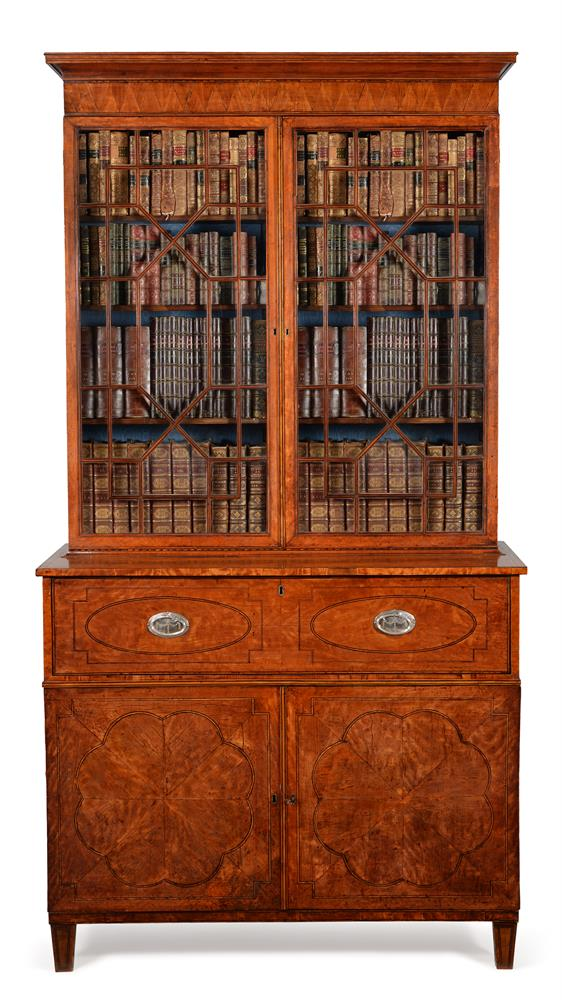 A GEORGE III SATINWOOD AND LINE INLAID SECRETAIRE BOOKCASE, CIRCA 1790