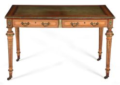 Y A VICTORIAN SATINWOOD INLAID AND GILT METAL MOUNTED WRITING TABLE, CIRCA 1880