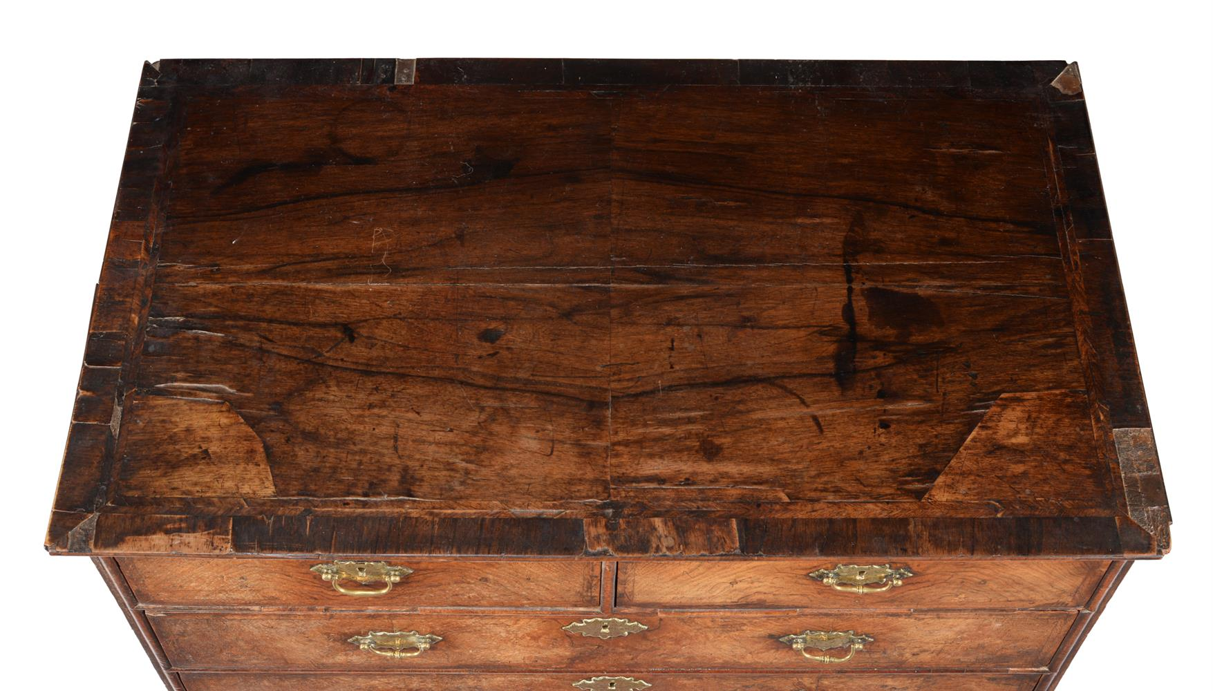 A GEORGE II WALNUT AND FEATHER BANDED CHEST OF DRAWERS, CIRCA 1740 - Image 3 of 3