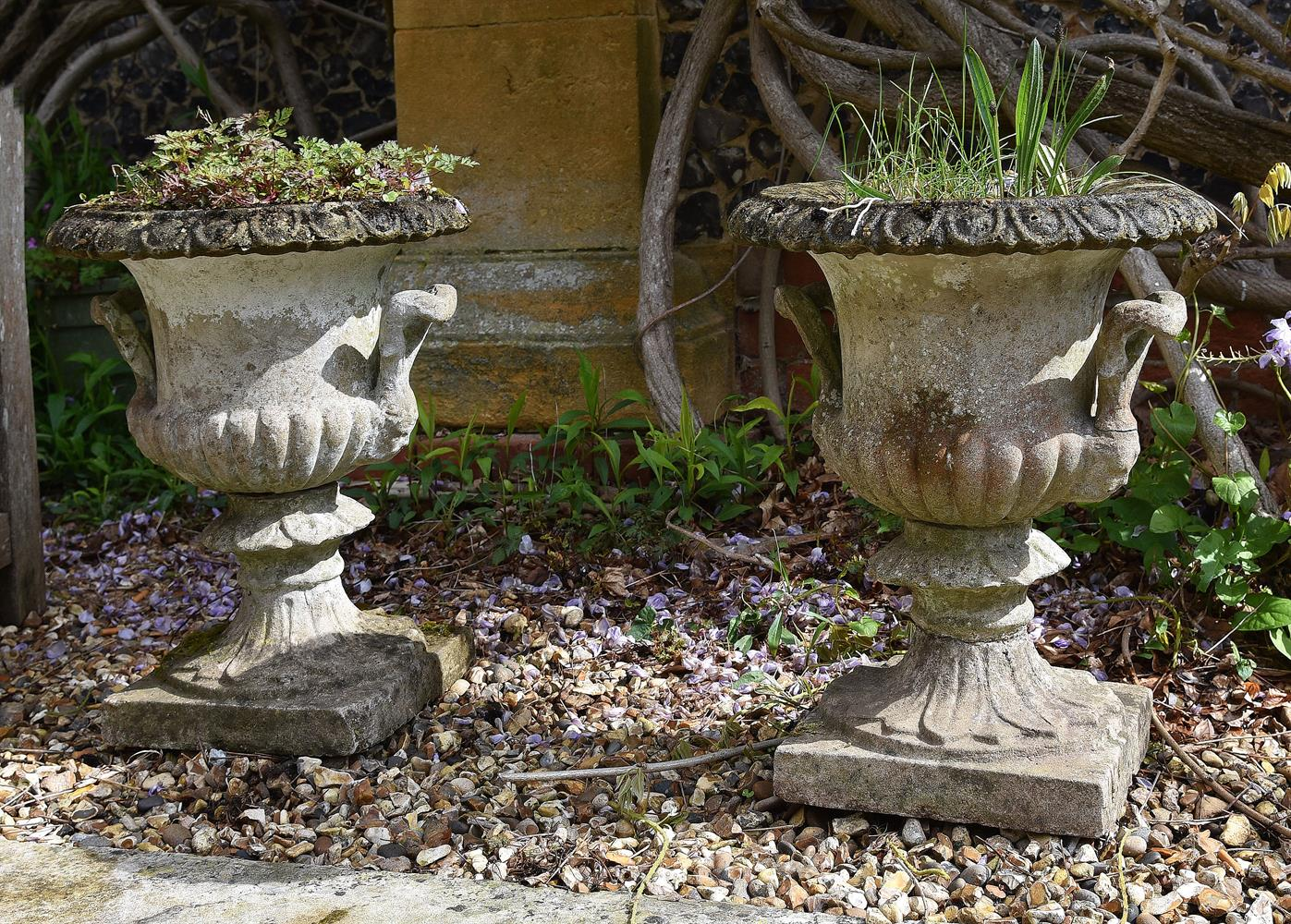 A PAIR OF CAST STONE CAMPANA VASES, ATTRIBUTED TO AUSTIN & SEELEY, LATE 19TH CENTURY